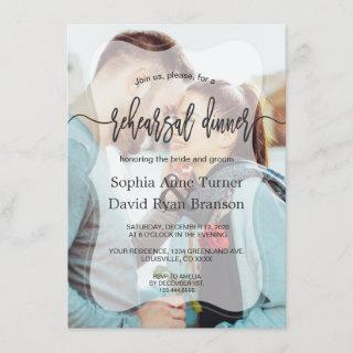 Whimsical Faded Photo Calligraphy Rehearsal Dinner Invitation