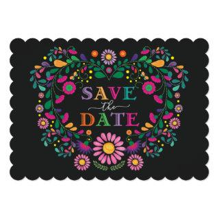 Whimsical Fiesta Floral Heart Wreath Save the Date Invitation