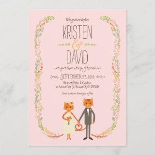 Whimsical Forest Cats (Blush) Wedding Invitation