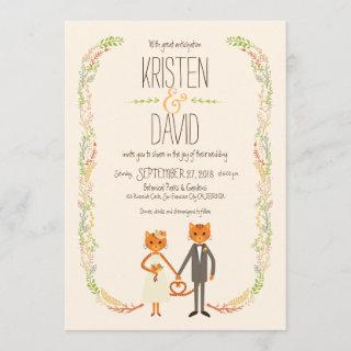 Whimsical Forest Cats (Cream) Wedding Invitation