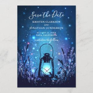 Whimsical Lantern and Fireflies Blue Save the Date