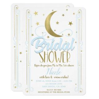 Whimsical Light Blue Gold Moon Stars Bridal Shower Invitations