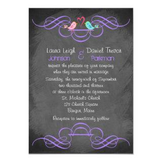 Whimsical Love Birds, Chalkboard Wedding - Purple Invitations