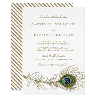 Whimsical Peacock Feather Wedding Invitation