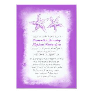 Whimsical purple beach wedding invitations