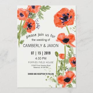 Whimsical Red Orange Poppies Watercolor Wedding Invitations