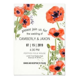 Whimsical Red Orange Poppies Watercolor Wedding Invitation