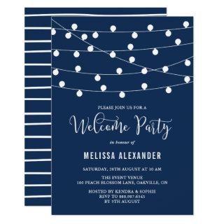 Whimsical String Lights Navy Blue Welcome Party Invitations