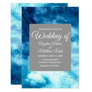 Whimsical Watercolor Floral Blue Modern Invitation