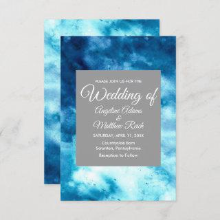 Whimsical Watercolor Floral Blue Modern Invitations
