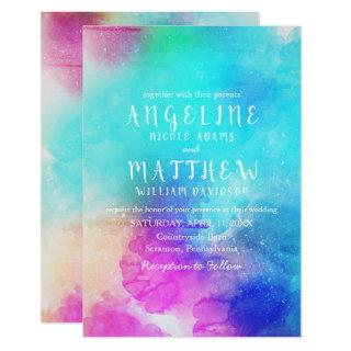 Whimsical Watercolor Floral Modern Invitation