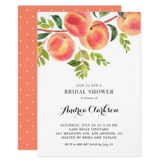 Whimsical Watercolor Peaches Summer Bridal Shower Invitations