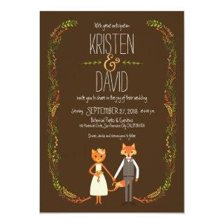 Whimsical Woodland Cat & Fox Couple Wedding Invitation