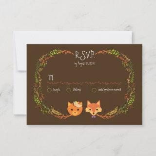 Whimsical Woodland Cat & Fox Couple Wedding RSVP