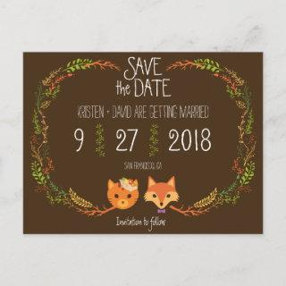 Whimsical Woodland Cat & Fox wedding Save the Date Announcement Postcard