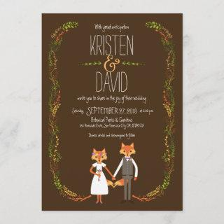 Whimsical Woodland Foxes Wedding Invitations