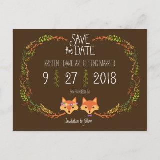 Whimsical Woodland Foxes wedding Save the Date Announcement Postcard