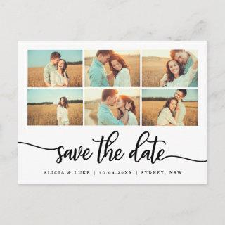 Whimsy Calligraphy Save the Date Photo Collage Announcement Postcard