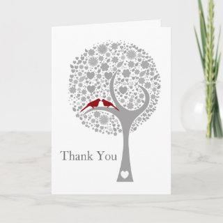 whimsy tree red lovebirds mod wedding Thank You