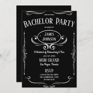 Whiskey Label Bachelor (ette) Party Invitations