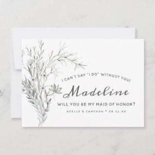 Whispering Wildflowers Boho Maid of Honor Proposal Card