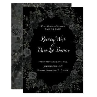 White and Black Rose Gothic Wedding Save the Date Invitations