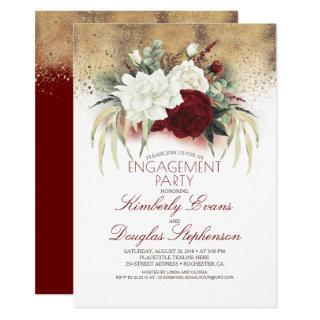White and Burgundy Red Floral Engagement Party Invitations