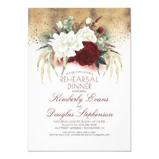 White and Burgundy Red Floral Rehearsal Dinner Invitations