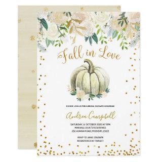 White and Gold Fall in Love Bridal Shower Invite