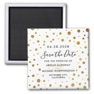 White and Gold Foil Wedding Save the Date Magnets