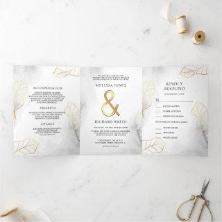 White and Gold Leaves Ampersand All in One Wedding Tri-Fold Invitation