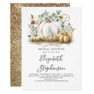 White and Gold Pumpkins Fall Bridal Shower Invitation
