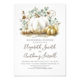 White and Gold Pumpkins Fall Rehearsal Dinner Invitations