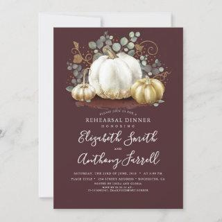 White and Gold Pumpkins Fall Rehearsal Dinner Invitation