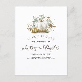 White and Gold Pumpkins Fall Save the Date Announcement Postcard