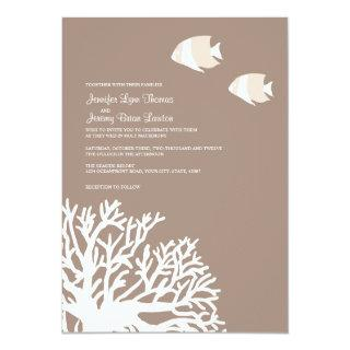 White and Ivory Tropical Coral Wedding Invitation