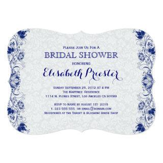 White And Navy Blue Lace Bridal Shower Invite 2