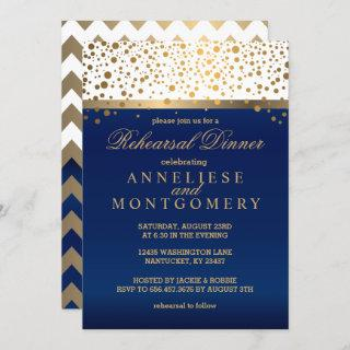 White and Navy, Gold Confetti - Rehearsal Dinner Invitation