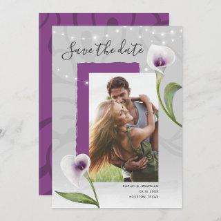 White and Purple Calla Lily Wedding Save the Date Announcement