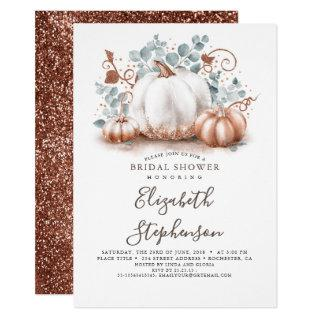 White and Rose Gold Pumpkins Fall Bridal Shower Invitation