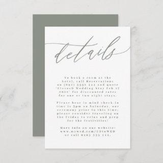 White and Sage Green Modern Wedding Enclosure Card