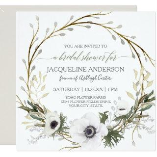 White Anemone Twig Fern Eucalyptus Bridal Shower Invitations