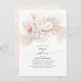 White Anthurium and Pampas Grass Bridal Shower Invitations