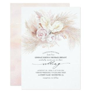 White Anthurium and Pampas Grass Elegant Wedding Invitations