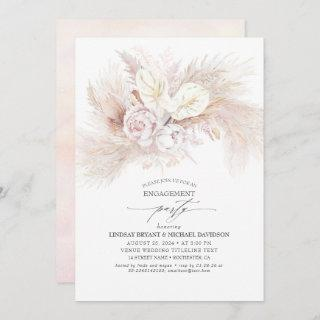 White Anthurium and Pampas Grass Engagement Party Invitation