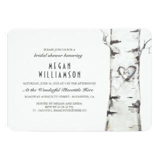 White Birch Tree Rustic Bridal Shower Invitation