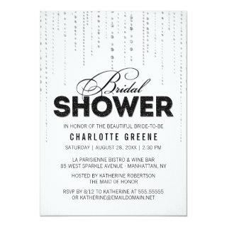 White & Black Glitter Look Bridal Shower Invitation