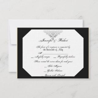 White Black Silver Damask Wedding Response Card