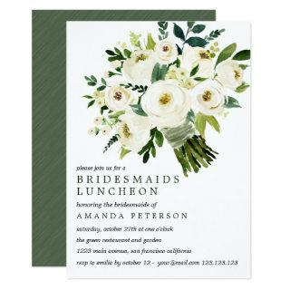 White Bloom | Bouquet Bridesmaids Luncheon Wedding Invitations