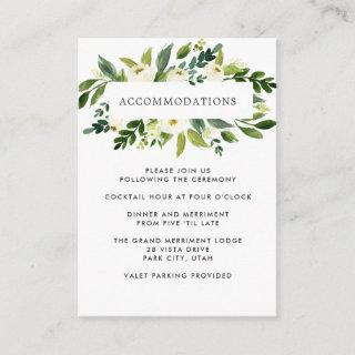 White Bloom | Floral WEDDING Hotel Accommodation Enclosure Card